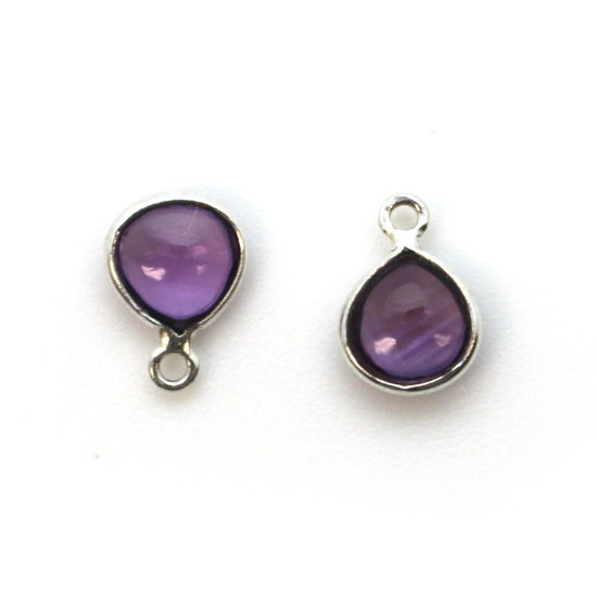 Wholesale Bezel Charm Pendant -  Sterling Silver Charm - Natural  Amethyst -Tiny Heart Shape -7mm