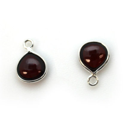 Wholesale Bezel Charm Pendant - Sterling Silver Charm - Natural  Garnet -Tiny Heart Shape -7mm