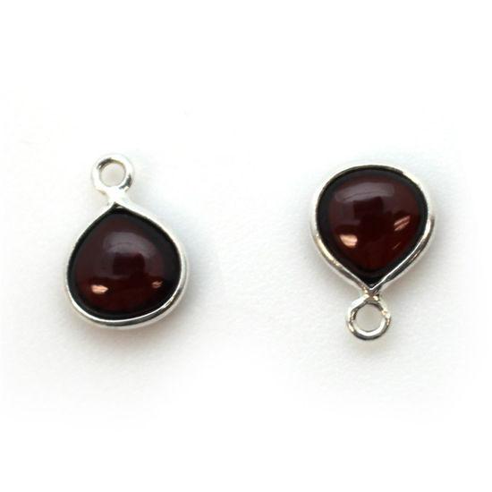 Wholesale Bezel Charm Pendant - Sterling Silver Charm - Natural  Garnet -Tiny Heart Shape -7mm