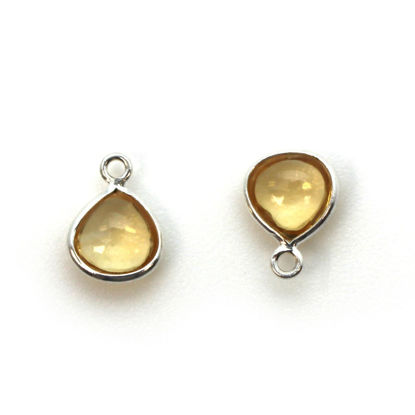 Wholesale Bezel Charm Pendant - Sterling Silver Charm - Natural  Citrine -Tiny Heart Shape -7mm