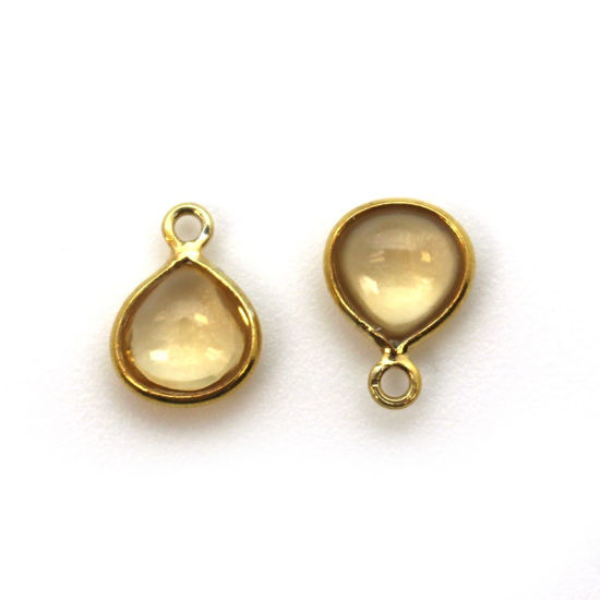 Wholesale Bezel Charm Pendant - Gold Plated Sterling Silver Charm - Natural  Citrine -Tiny Heart Shape -7mm