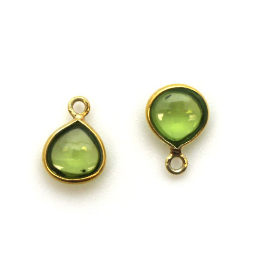 Wholesale Bezel Charm Pendant - Gold Plated Sterling Silver Charm - Natural  Peridot -Tiny Heart Shape -7mm
