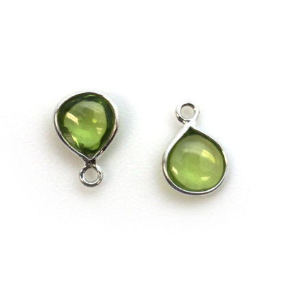 Wholesale Bezel Charm Pendant - Sterling Silver Charm - Natural  Peridot -Tiny Heart Shape -7mm