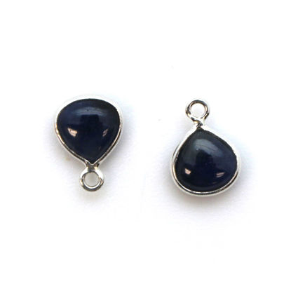 Wholesale Bezel Charm Pendant - Sterling Silver Charm - Natural Blue Sapphire -Tiny Heart Shape -7mm