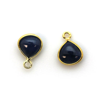 Wholesale Bezel Charm Pendant -Gold Plated Sterling Silver Charm - Natural Blue Sapphire -Tiny Heart Shape -7mm