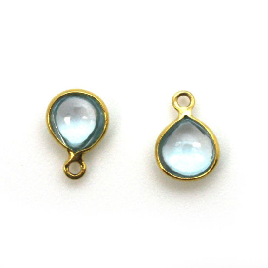 Wholesale Bezel Charm Pendant -Gold Plated Sterling Silver Charm - Natural Sky Blue Topaz -Tiny Heart Shape -7mm