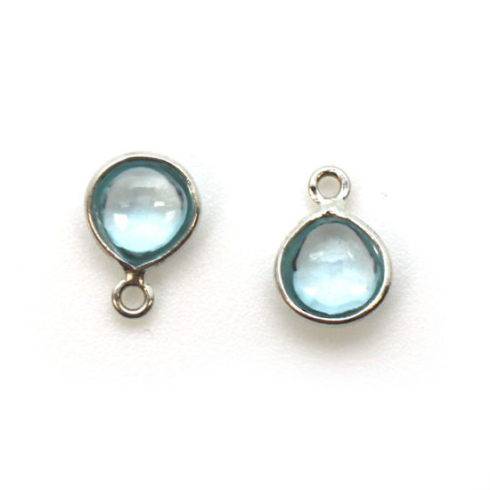 Wholesale Bezel Charm Pendant -Sterling Silver Charm - Natural Sky Blue Topaz -Tiny Heart Shape -7mm