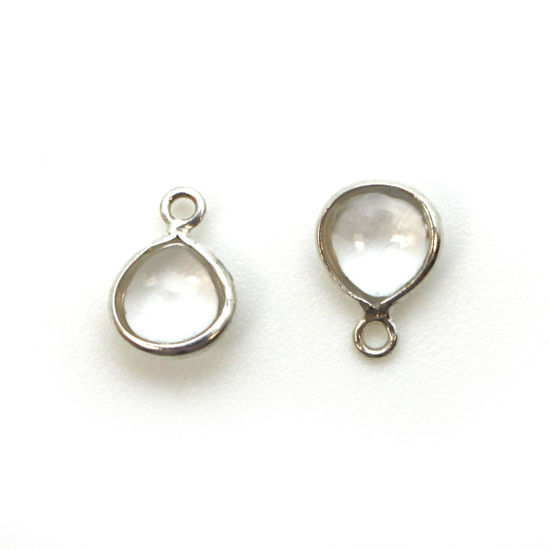 Wholesale Bezel Charm Pendant -Sterling Silver Charm - Natural Crystal -Tiny Heart Shape -7mm