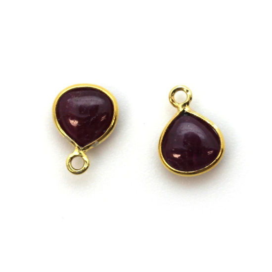 Wholesale Bezel Charm Pendant -Gold Plated Sterling Silver Charm - Natural Ruby -Tiny Heart Shape -7mm