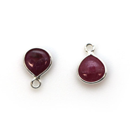Wholesale Bezel Charm Pendant - Sterling Silver Charm - Natural Ruby -Tiny Heart Shape -7mm
