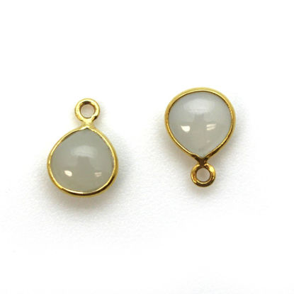 Wholesale Bezel Charm Pendant - Gold Plated Sterling Silver Charm - Natural Moonstone -Tiny Heart Shape -7mm