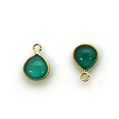 Wholesale Bezel Charm Pendant - Gold Plated Sterling Silver Charm - Natural Green Onyx -Tiny Heart Shape -7mm