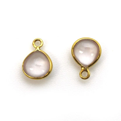 Wholesale Bezel Charm Pendant - Gold Plated Sterling Silver Charm - Natural Rose Quartz -Tiny Heart Shape -7mm