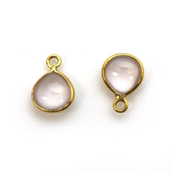 Wholesale Bezel Charm Pendant - Gold Plated Sterling Silver Charm - Natural Rose Quartz -Tiny Heart Shape -7mm