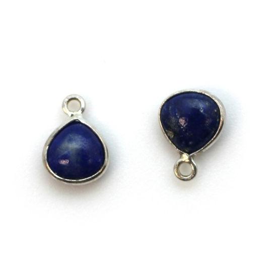 Wholesale Bezel Charm Pendant - Sterling Silver Charm - Natural Lapis Lazuli -Tiny Heart Shape -7mm