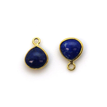 Wholesale Bezel Charm Pendant - Gold Plated Sterling Silver Charm - Natural Lapis Lazuli -Tiny Heart Shape -7mm