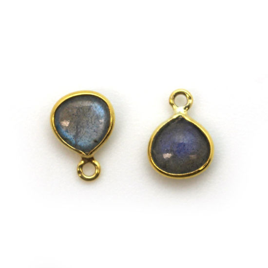 Wholesale Bezel Charm Pendant - Gold Plated Sterling Silver Charm - Natural Labradorite -Tiny Heart Shape -7mm