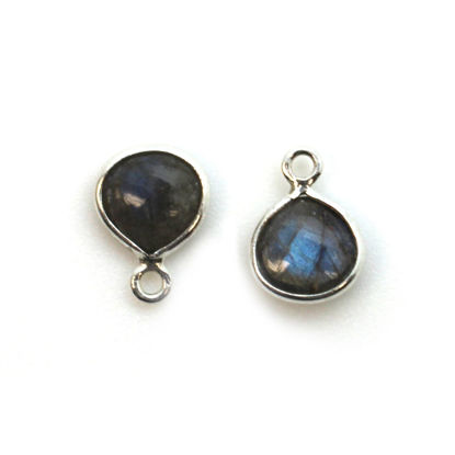 Wholesale Bezel Charm Pendant - Sterling Silver Charm - Natural Labradorite -Tiny Heart Shape -7mm