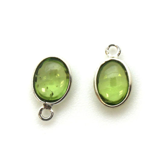 Wholesale Bezel Charm Pendant - Sterling Silver Charm - Natural  Peridot -Tiny Oval Shape