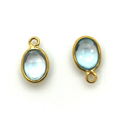 Wholesale Bezel Charm Pendant - Gold Plated Sterling Silver Charm - Natural  Sky Blue Topaz -Tiny Oval Shape