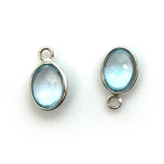 Wholesale Bezel Charm Pendant - Sterling Silver Charm - Natural  Sky Blue Topaz -Tiny Oval Shape