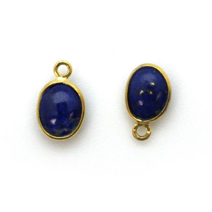 Wholesale Bezel Charm Pendant - Gold Plated Sterling Silver Charm - Natural Lapis Lazuli -Tiny Oval Shape