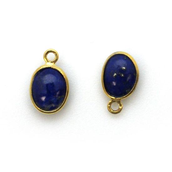 Wholesale Bezel Charm Pendant - Gold Plated Sterling Silver Charm - Natural Lapis Lazuli -Tiny Oval Shape