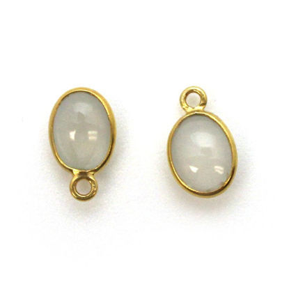 Wholesale Bezel Charm Pendant - Gold Plated Sterling Silver Charm - Natural Moonstone -Tiny Oval Shape