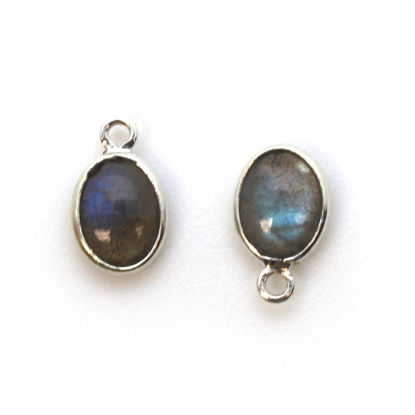 Wholesale Bezel Charm Pendant -Sterling Silver Charm - Natural Labradorite -Tiny Oval Shape