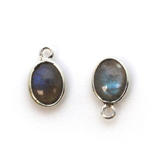 Wholesale Bezel Charm Pendant -Sterling Silver Charm - Natural Labradorite -Tiny Oval Shape