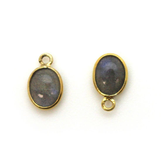 Wholesale Bezel Charm Pendant - Gold Plated Sterling Silver Charm - Natural Labradorite -Tiny Oval Shape