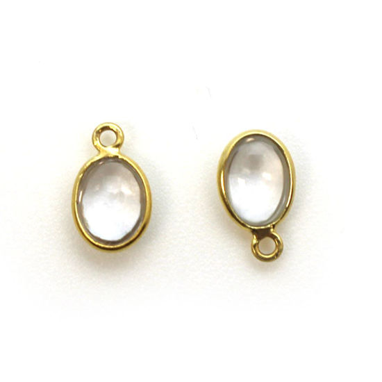 Wholesale Bezel Charm Pendant - Gold Plated Sterling Silver Charm - Natural Crystal -Tiny Oval Shape