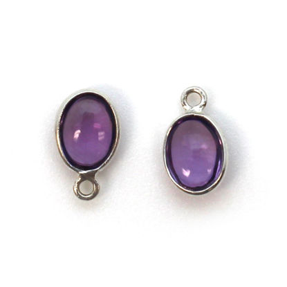 Wholesale Bezel Charm Pendant - Sterling Silver Charm - Natural Amethyst -Tiny Oval Shape