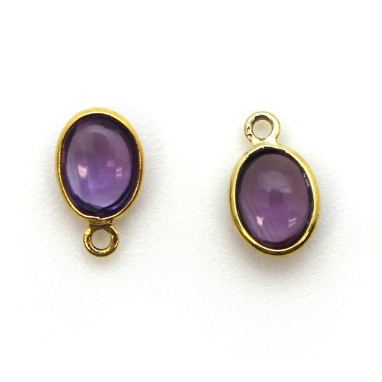 Wholesale Bezel Charm Pendant - Gold Plated Sterling Silver Charm - Natural Amethyst -Tiny Oval Shape
