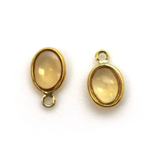 Wholesale Bezel Charm Pendant - Gold Plated Sterling Silver Charm - Natural Citrine -Tiny Oval Shape
