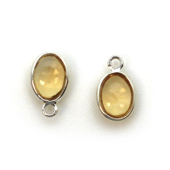 Wholesale Bezel Charm Pendant - Sterling Silver Charm - Natural Citrine -Tiny Oval Shape