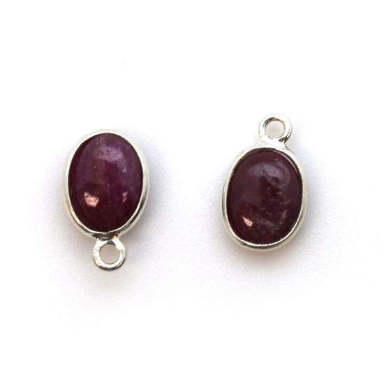 Wholesale Bezel Charm Pendant - Sterling Silver Charm - Natural Ruby -Tiny Oval Shape
