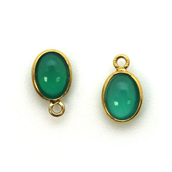 Wholesale Bezel Charm Pendant - Gold Plated Sterling Silver Charm - Natural Green Onyx -Tiny Oval Shape