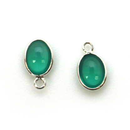 Wholesale Bezel Charm Pendant - Sterling Silver Charm - Natural Green Onyx -Tiny Oval Shape