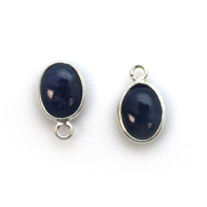 Wholesale Bezel Charm Pendant - Sterling Silver Charm - Natural Blue Sapphire -Tiny Oval Shape