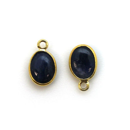 Wholesale Bezel Charm Pendant - Gold Plated Sterling Silver Charm - Natural Blue Sapphire -Tiny Oval Shape