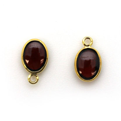 Wholesale Bezel Charm Pendant - Gold Plated Sterling Silver Charm - Natural Garnet -Tiny Oval Shape