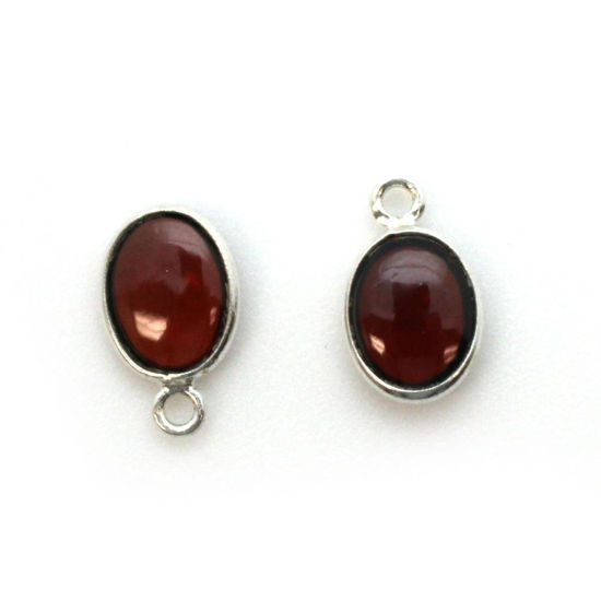 Wholesale Bezel Charm Pendant - Sterling Silver Charm - Natural Garnet -Tiny Oval Shape