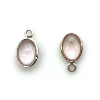 Wholesale Bezel Charm Pendant - Sterling Silver Charm - Rose Quartz -Tiny Oval Shape