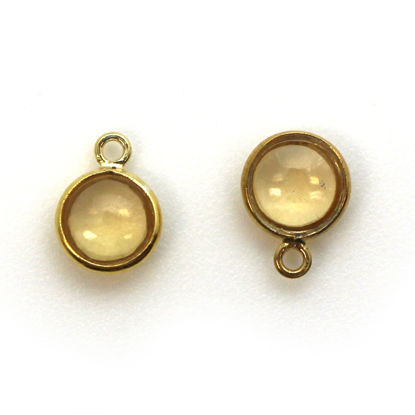 Wholesale Bezel Charm Pendant - Gold Plated Sterling Silver Charm - Natural  Citrine -Tiny Round Shape