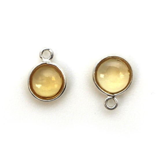 Wholesale Bezel Charm Pendant - Sterling Silver Charm - Natural  Citrine -Tiny Round Shape