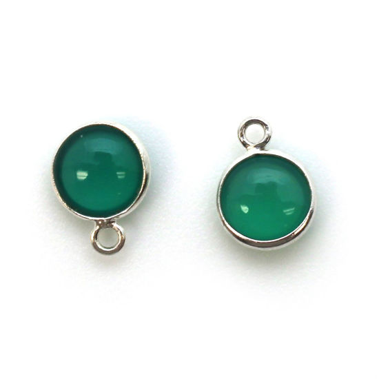 Wholesale Bezel Charm Pendant - Sterling Silver Charm - Natural  Green Onyx -Tiny Round Shape