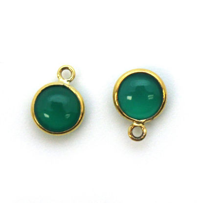 Wholesale Bezel Charm Pendant - Gold Plated Sterling Silver Charm - Natural  Green Onyx -Tiny Round Shape