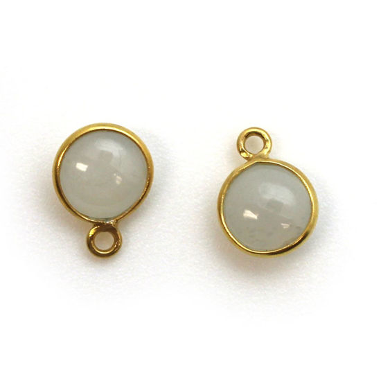 Wholesale Bezel Charm Pendant - Gold Plated Sterling Silver Charm - Natural Moonstone-Tiny Round Shape