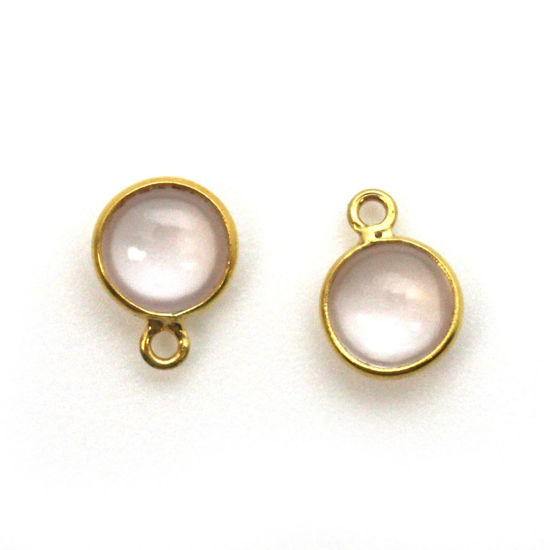 Wholesale Bezel Charm Pendant - Gold Plated Sterling Silver Charm - Natural Rose Quartz -Tiny Round Shape